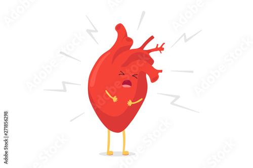 Fotomural Cartoon heart character unhealthy sick emoji pain emotion