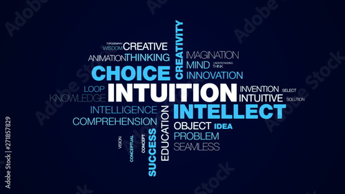intuition intellect choice creativity acumen decision brain business awareness success insight animated word cloud background in uhd 4k 3840 2160 Canvas Print
