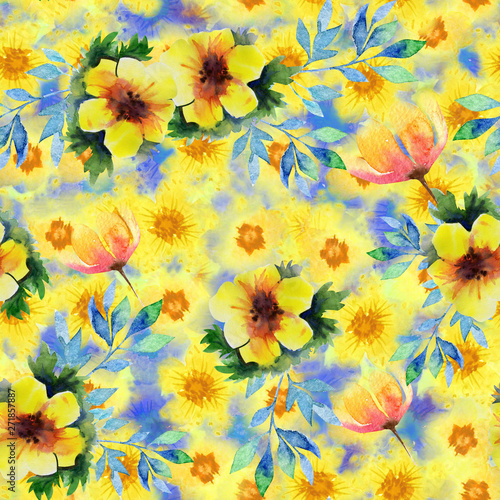 Abstract Watercolor Flowers Art