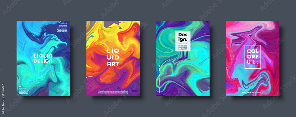 Fototapety, obrazy: Colorful abstract geometric background. Liquid dynamic gradient waves. Fluid marble texture. Modern covers set. Eps10 vector.