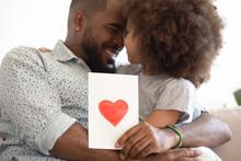 Black Daddy Hugging Little Daughter Bonding Holding Greeting Card