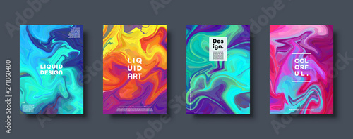 Colorful abstract geometric background. Liquid dynamic gradient waves. Fluid marble texture. Modern covers set. Eps10 vector. - 271860480