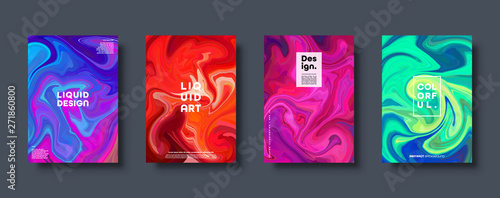 Colorful abstract geometric background. Liquid dynamic gradient waves. Fluid marble texture. Modern covers set. Eps10 vector. - 271860800