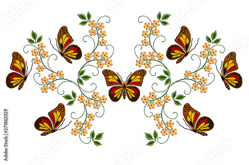 Tuinposter Vlinders Pattern for embroidery on a white background of colorful butterflies among yellow flowers on twisted stems with green leaves