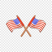 Independence Day Usa Flags Icon. Cartoon Illustration Of Independence Day Usa Flags Vector Icon For Web Design