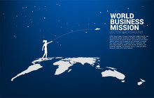 Silhouette Of Businesswoman Throw Origami Airplane On World Globe. Concept Of World Business Market Vision Mission Start Up