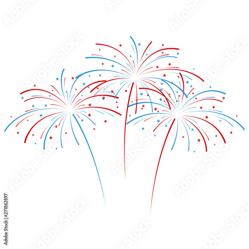 Fotografie, Tablou Exploding fireworks in national American colors. Vector