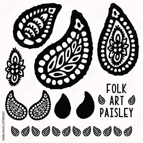 Ornamental paisley folk art elements for design set Billede på lærred