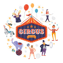 Colorful Circus Sign With Text...