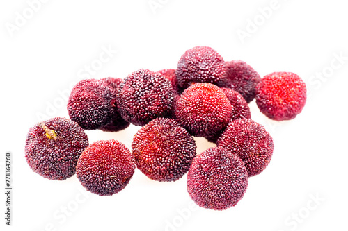 Photo Red bayberry with white background..