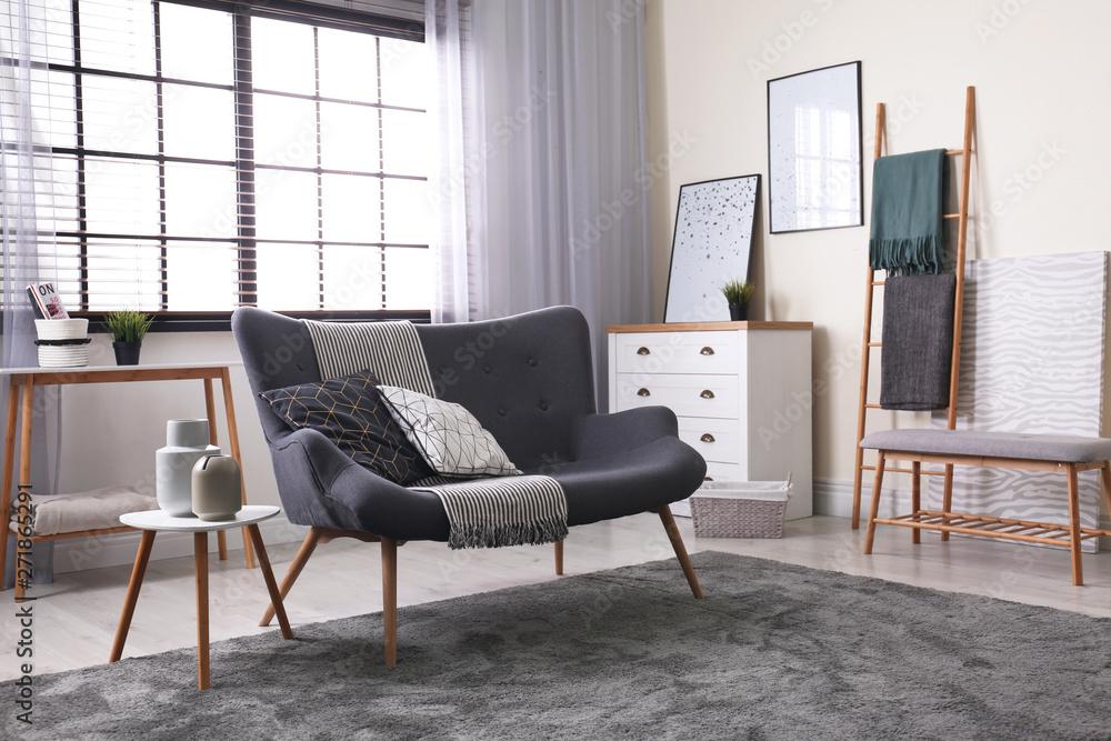 Fototapety, obrazy: Contemporary living room interior with cozy sofa