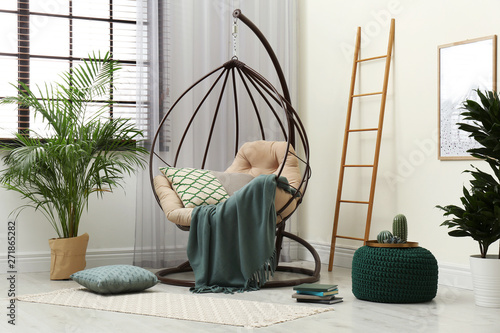 Fotografia, Obraz  Stylish modern room interior with swing chair