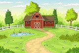 Summer Landscape with red house and pond.