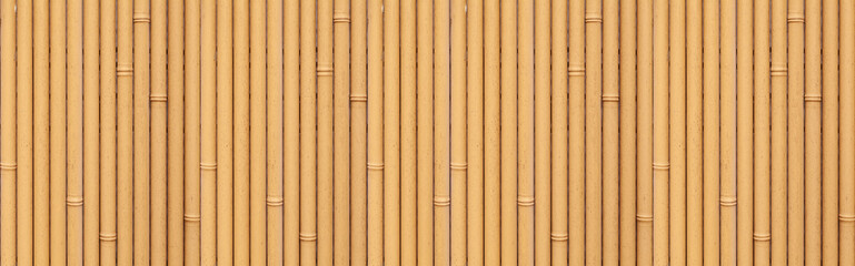 Panorama of Brown bamboo fence seamless background and pattern