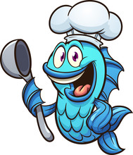 Cartoon Chef Fish With Soup Sp...