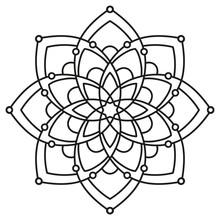 Black And White Round Symmetrical Pattern. Fancy Decorative Mandala
