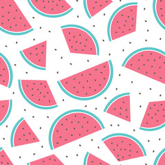 vector seamless pattern with watermelon