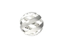 3D Rendering Of A Silver Spiral Sphere Isolated In White Studio Background