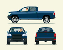 Pickup Truck Two Angle Set. Car With Driver Man Side View, Back View