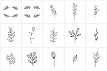 Hand Drawn Flowers Logo Elemen...