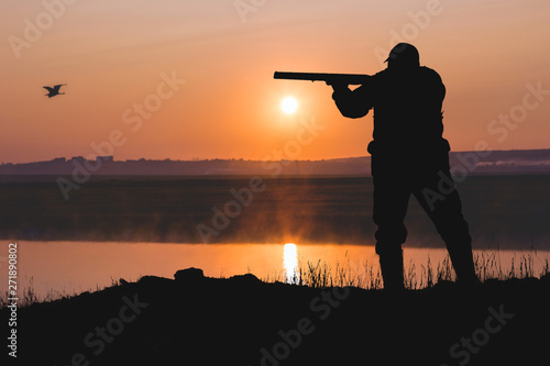 Poster Chasse Silhouette of a hunter with a gun in the reeds against the sun, an ambush for ducks with dogs