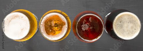 Flight of beers, top view Canvas Print