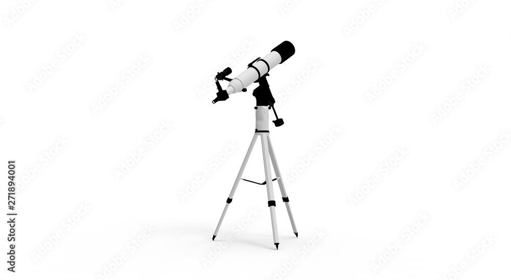 Fototapety, obrazy: Telescope isolated on white 3D Rendering