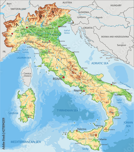 Photo  Detailed Italy physical map.