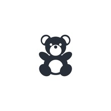 Teddy Bear. Vector Icon, White...