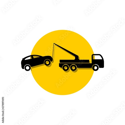 Photo  Car tow service, 24 hours, truck icon