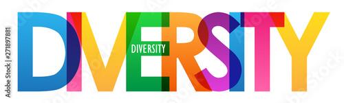 Fotografie, Obraz DIVERSITY rainbow vector typography concept banner