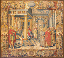 COMO, ITALY - MAY 8, 2015: The Tapestry Of Presentation Of Virin Mary In In The Temple In Cathedral (Duomo Di Conmo) From 16. Cent.