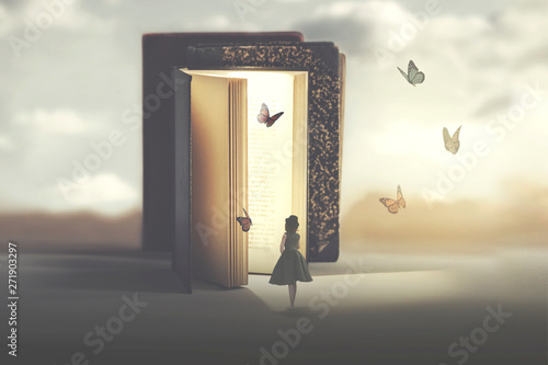 Obraz poetic encounter between a woman and butterflies coming out of a book - fototapety do salonu