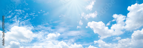 Beautiful blue sky cloudsfor background. Panorama of sky. Wallpaper Mural