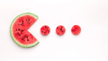 Watermelon Pacman Eating Small Red Round Pieces