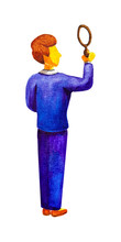 Young Male Businessman Seeker Detective In A Blue Business Suit Holding A Magnifying Glass, Stands Rear. He Is Searching And Looking  For Answers,  Results, Examines. Watercolor. Business Concept.