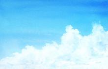 水彩で描く入道雲