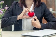 Service Mind, Customer Care With Love Heart From Business People Concept.