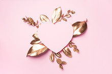 Golden Leaves, Heart Shaped Pa...
