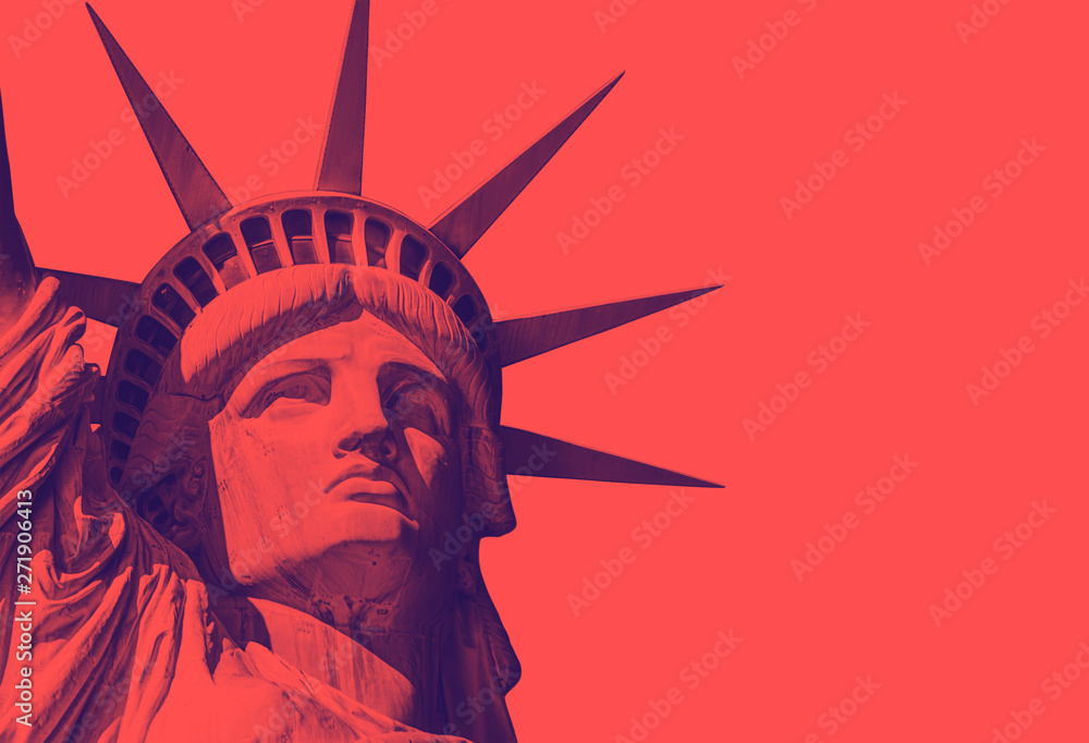 Fototapety, obrazy: detail of the face of the statue of liberty with a red duo tone effect