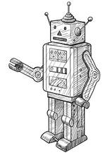 Toy Robot Illustration, Drawing, Engraving, Ink, Line Art, Vector