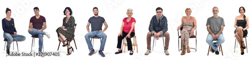 Photo  group of people sitting on white background