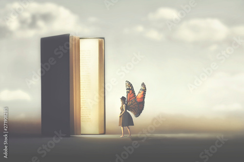 Fotografie, Obraz  butterfly woman enters the pages of a fantasy book