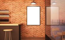 Wall Poster On Bar Mockup 3d R...