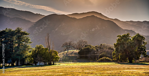 Hazy panoramic view of the Santa Monica mountains in southern California; soft focus.