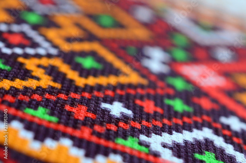 Fotografie, Obraz  Traditional Ukrainian folk art knitted embroidery pattern on textile fabric