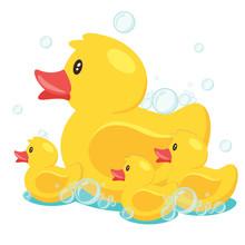 Yellow Cute Cartoon Rubber Bath Duck In Blue Water. Vector Illustration