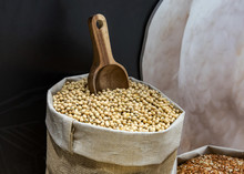 Fresh Soy Beans In Rustic Fabric Bag