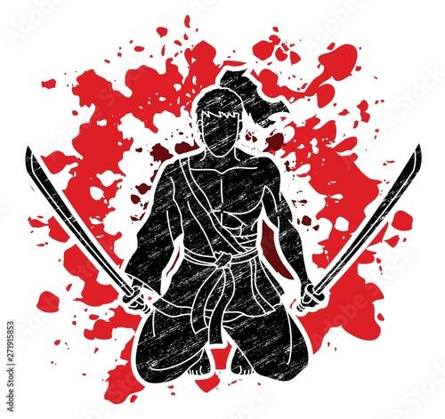 Samurai warrior sitting wit...