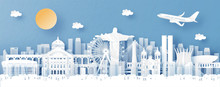 Panorama View Of Brazil And Skyline With World Famous Landmarks In Paper Cut Style Vector Illustration